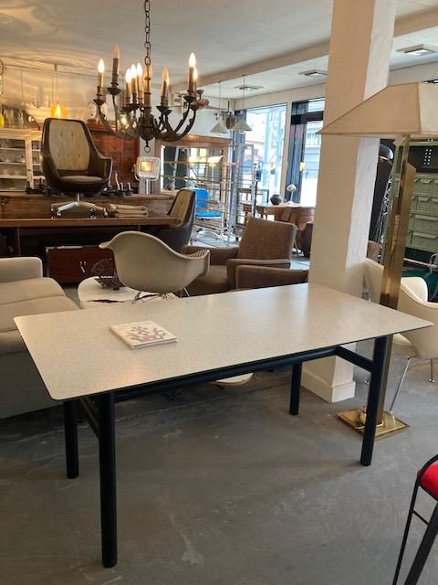 postmodern metal & glasstop table
