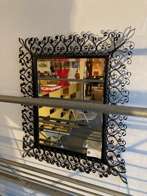 decorated iron frame wall mirror
