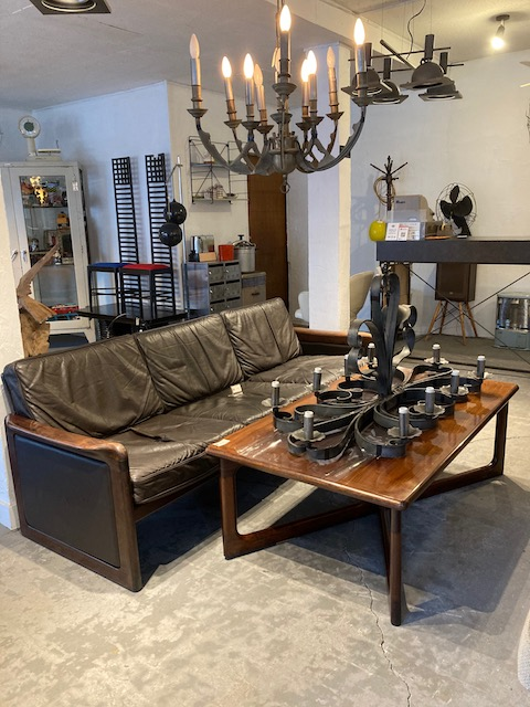 wooden frame leather seat sofa & wooden coffee table / denmark