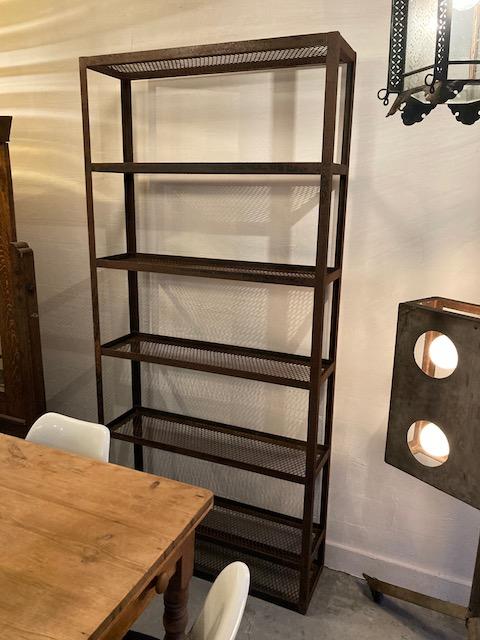 industrial 50's rusted metal shelf