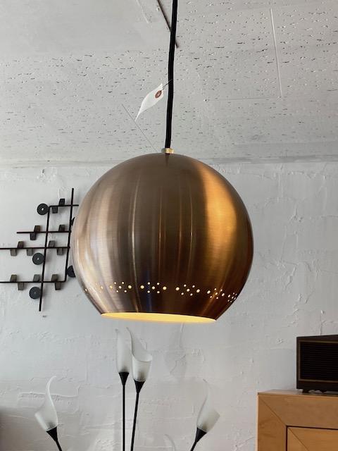 space age aluminum ball form pendant lamp
