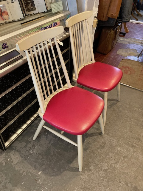 red & white spindle chairs