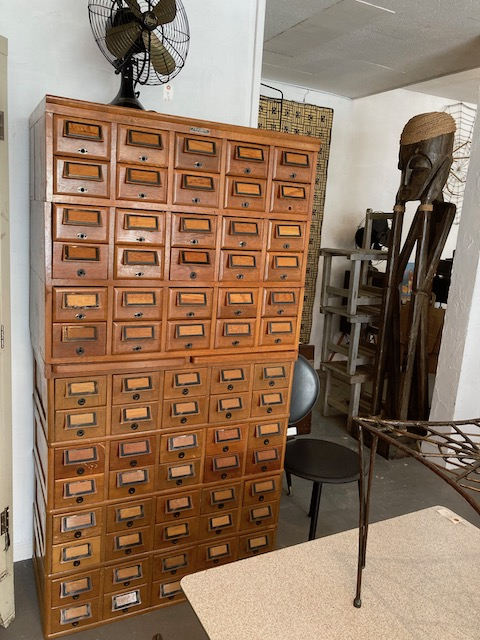 old library wooden cards cabinet