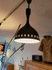 mid-century black lacquered aluminum shade pendant lamp