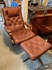 leather Swedish lounge chair & ottoman