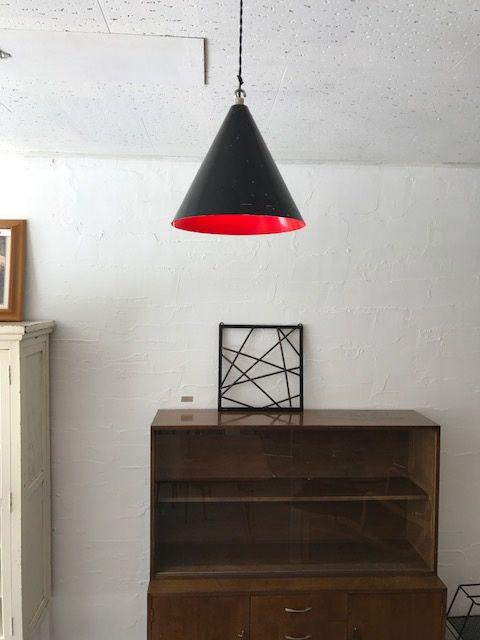 black&red cone shade modern lamp/黒い円錐型の照明